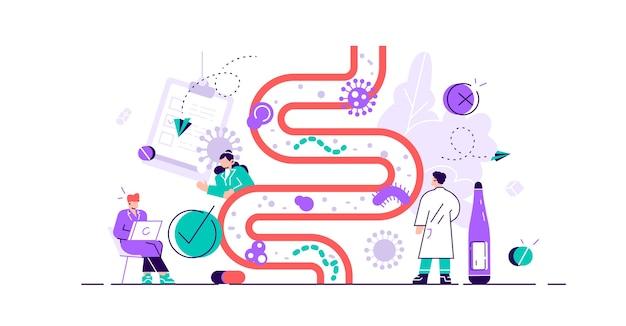 Ilustración de la flora intestinal concepto de persona microbio gastrointestinal diminuto plano