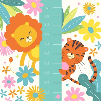 Ilustración floral con animales salvajes.