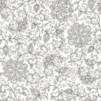Ilustración floral blanco y negro sin costura