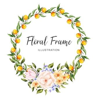 Ilustración floral de la guirnalda del marco naranja