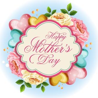 Ilustración floral hermosa del día de la madre del amor