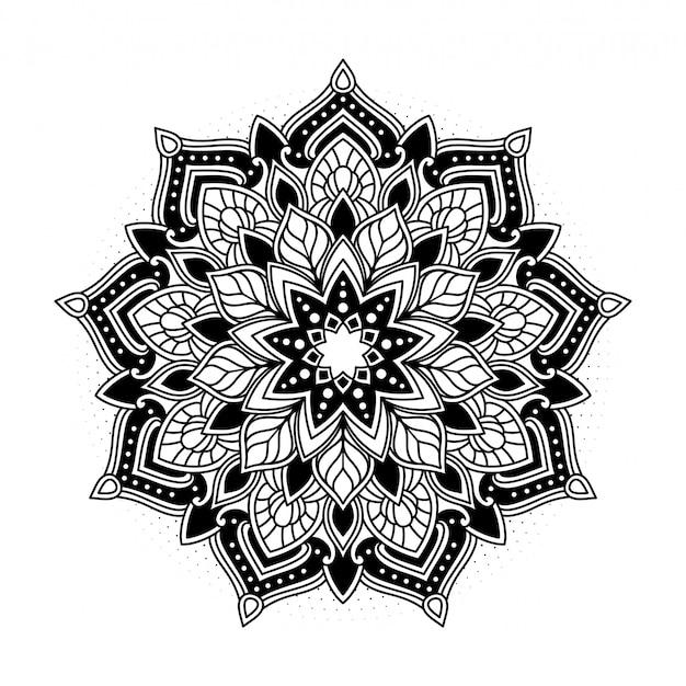 Ilustración floral mandala ornamental
