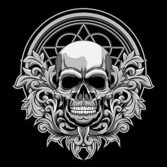 Ilustración floral del vector del cráneo en fondo oscuro