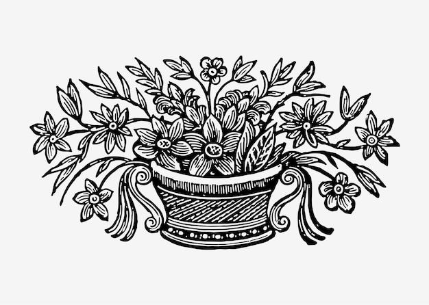 Ilustración de flores en maceta vintage