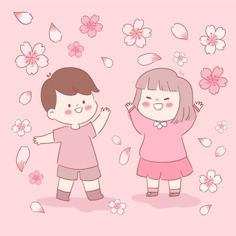 Ilustración de flores y niños de sakura