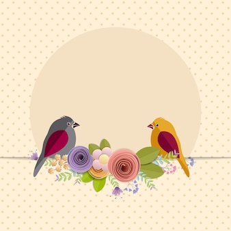 Ilustración de flores y pájaros de papel artesanal.