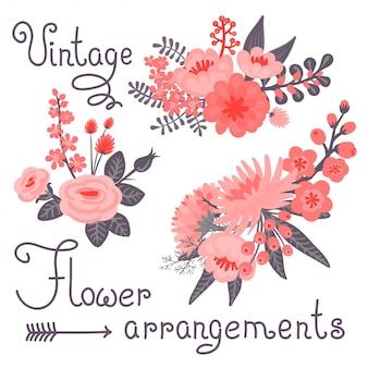 Ilustración de flores vintage