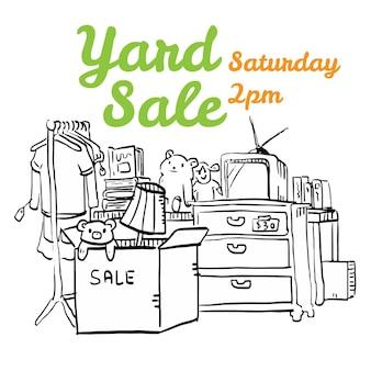 Ilustración de flyer blanco y negro de la venta de la yarda