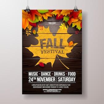 Ilustración de flyer fiesta de otoño con hojas caídas y diseño de tipografía en madera vintage