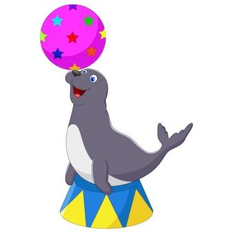 Ilustración de foca de circo jugando una pelota