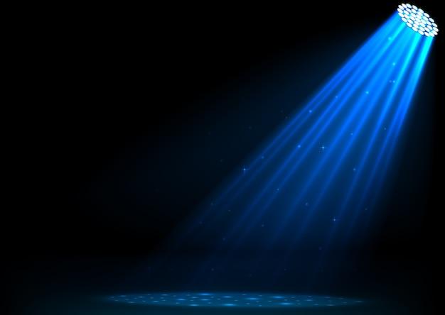 Ilustración de focos azules sobre fondo oscuro