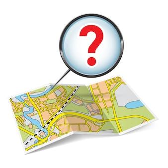 Ilustración del folleto de mapa con signo de interrogación sobre fondo blanco.