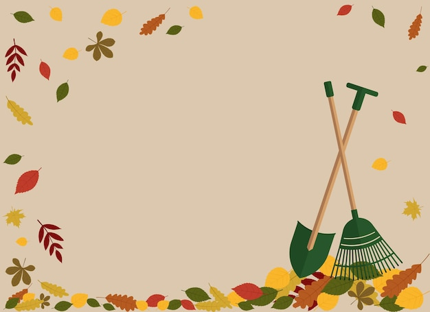 Ilustración de folleto de otoño con hojas, rastrillo y pala.
