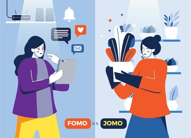 Ilustración de fomo vs jomo Vector Premium