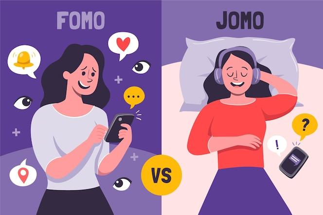 Ilustración de fomo vs jomo