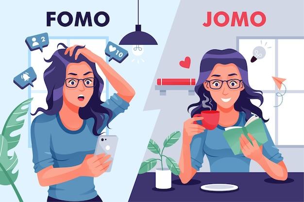 Ilustración fomo vs jomo