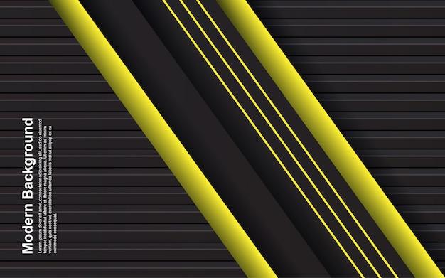 Ilustración de fondo abstracto de color negro y amarillo