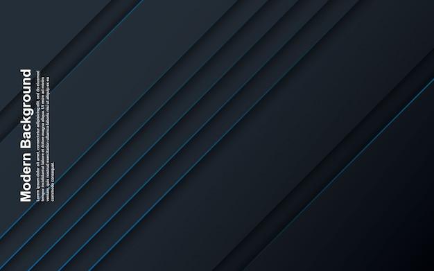 Ilustración de fondo abstracto de color negro y azul con línea azul