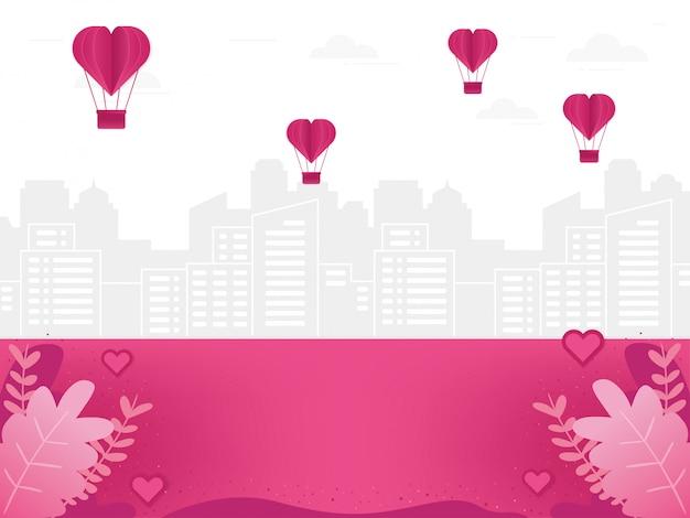 Ilustración de fondo de amor con paisaje urbano