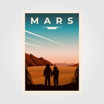 Ilustración de fondo de cartel fantástico de marte, ilustración de cartel vintage de parejas de astronautas