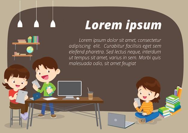 Ilustración de fondo de concepto de e-learning