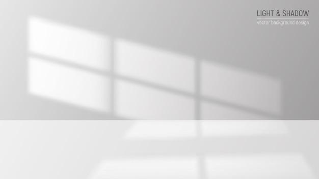 Ilustración de fondo decorativo gris realista de luz y sombra de ventana