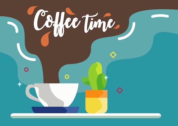 Ilustración del fondo del diseño plano del tiempo del café
