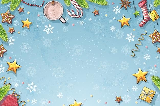Ilustración de fondo feliz navidad y año nuevo.