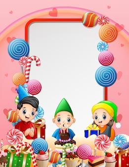 Una ilustración de fondo de fiesta de cumpleaños de niño pequeño