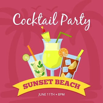 Ilustración de fondo de fiesta con diferentes cócteles. póster. beba banner de cóctel tropical, playa al atardecer con bebida fresca