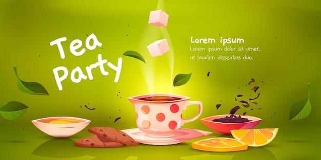 Ilustración de fondo de fiesta de té de dibujos animados