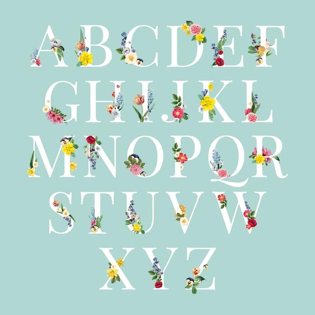 Ilustración de fondo floral del alfabeto