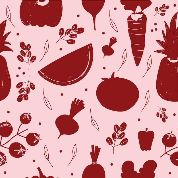 Ilustración de fondo de frutas y verduras de silueta roja de patrón de alimentos