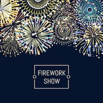 Ilustración de fondo de fuegos artificiales con lugar para texto