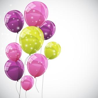 Ilustración de fondo de globos brillantes de color