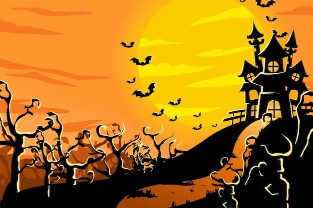 Ilustración de fondo de halloween con castillo y murciélago