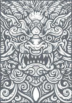 Ilustración de fondo de mandala de león chino