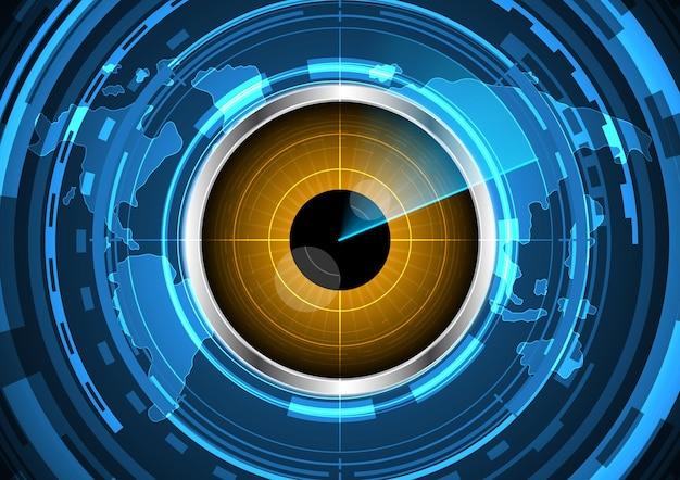 Ilustración de fondo de mapa de mundo de radar de círculo de ojo futuro abstracto de tecnología