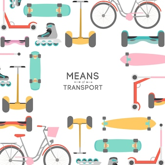 Ilustración de fondo de medios de transporte con área de texto