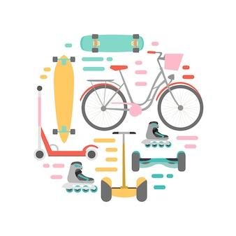 Ilustración de fondo de medios de transporte