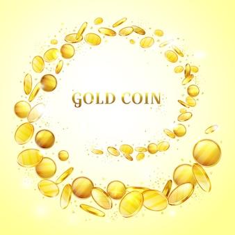 Ilustración de fondo de monedas de oro. salpicaduras de dinero de oro o salpicaduras de remolinos