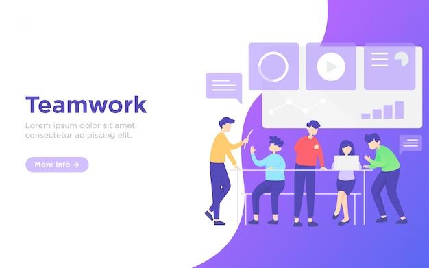 Ilustración de fondo de página de aterrizaje de trabajo en equipo de negocios