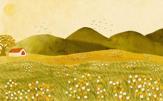 Ilustración de fondo de paisaje de montañas de paisaje