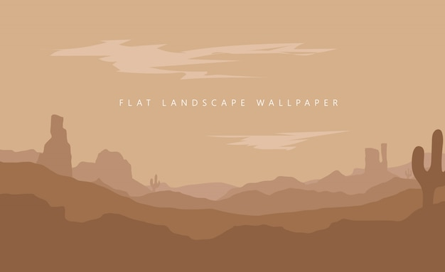 Ilustración de fondo de pantalla de desierto de montaña de paisaje plano