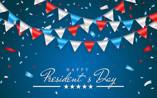 Ilustración de fondo patriótico con banderas del empavesado para el feliz día de los presidentes y confeti de papel de aluminio, colores de estados unidos.