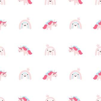 Ilustración de fondo de patrón de vector de dibujos animados lindo unicornio bebé transparente con flores en colores pastel