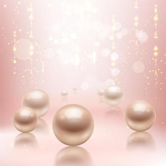 Ilustración de fondo de perlas realistas