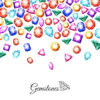 Ilustración de fondo de piedras preciosas