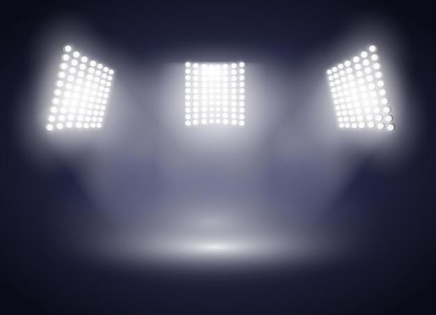 Ilustración de fondo de presentación de proyección de luces de estadio