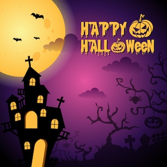 Ilustración de fondo púrpura oscuro de halloween